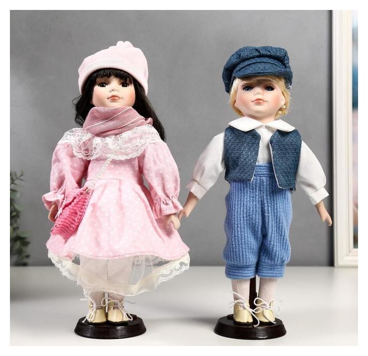 """Кукла коллекционная парочка набор 2 шт """"Полина и кирилл в розовых нарядах"""" 30 см  NNB"""