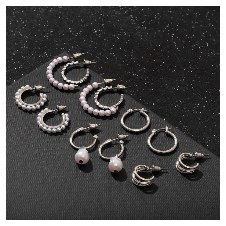 Серьги-кольца набор 6 пар Жемчужные настроение, цвет белый в серебре NNB