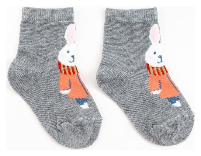 Носки детские «Зайка с шарфом» цвет серый, размер 18-20  Happy frensis