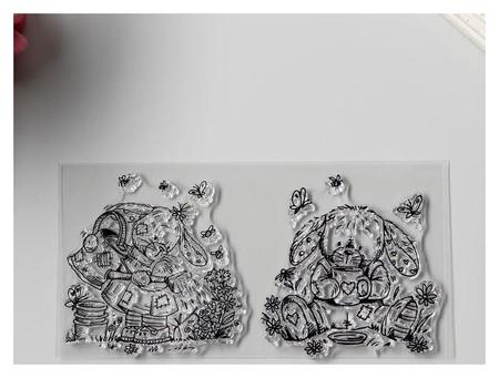 Штамп для творчества силикон Зайки садоводы 7,5х14,5 см NNB