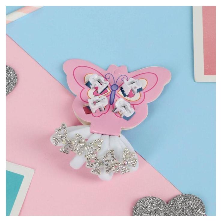 """Набор для волос """"Белый перелив"""" (4 резинки, 4 краба) бабочки  NNB"""