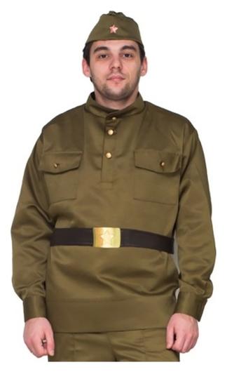 Карнавальный костюм «Солдат», пилотка, гимнастёрка, ремень, р. 54-56 Бока