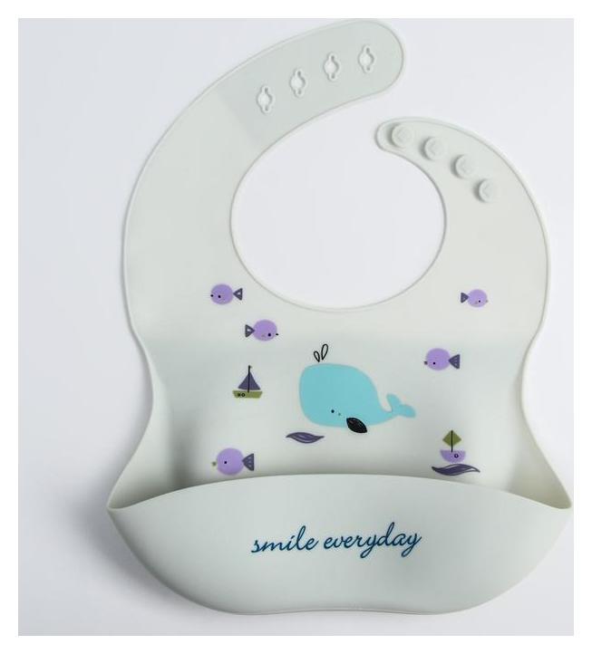Нагрудник силиконовый, на кнопках, с карманом «Кит», цвет белый  Mum&baby