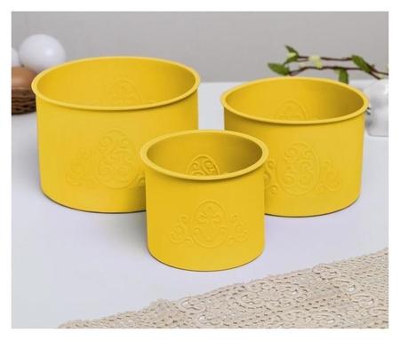 Набор силиконовых форм для выпечки «Хв» жёлтые, 3 шт  NNB