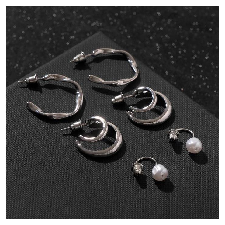 """Серьги-кольца набор 3 пары """"Нежность"""" изящная жемчужинка, цвет белый в серебре, D=2,5  NNB"""