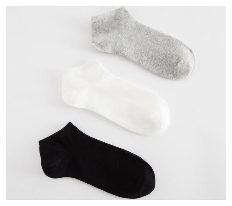 """Набор женских укороч.носков 3 пары """"Классика"""", 22-25 см бел/сер/черн  Minaku"""