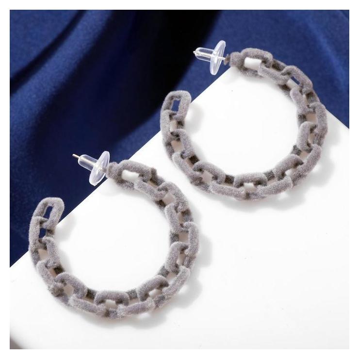 Серьги-кольца Цепи овал, цвет серый Queen fair