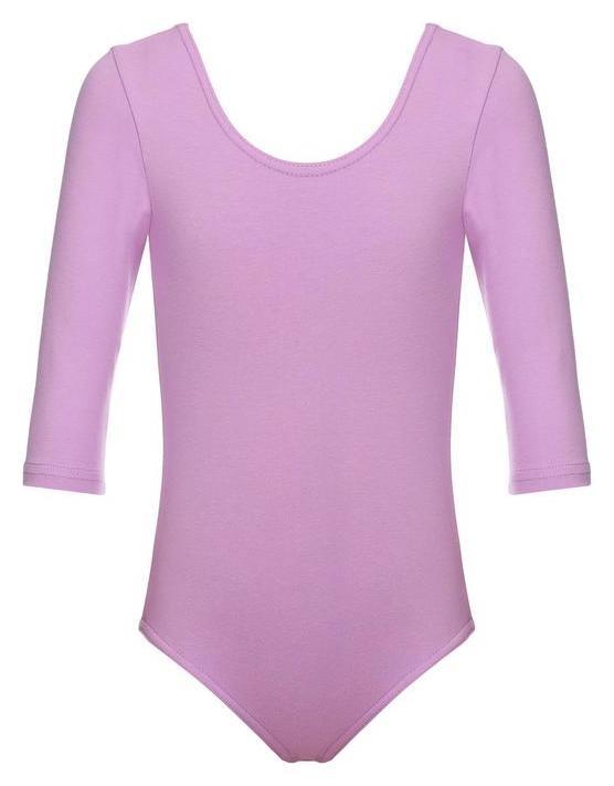 Купальник гимнастический хлопок, рукав 3/4, цвет фиалковый, размер 44  Grace dance