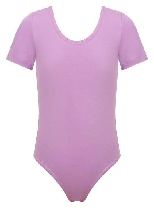 Купальник гимнастический х/б, короткий рукав, цвет фиалковый, размер 42  Grace dance