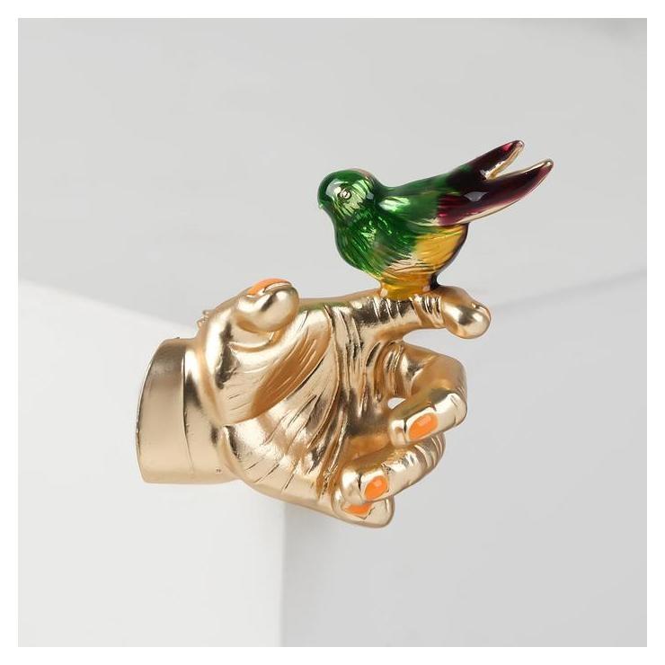 """Брошь """"Птичка"""" на руке, цветная в матовом золоте  Queen Fair"""