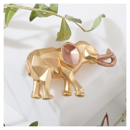 """Брошь """"Слон"""" геометрия, цвет матового золота  Queen Fair"""