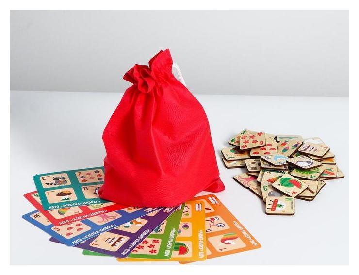 Лото «Азбука» 7 карточек, 42 фишки, мешочек  Alatoys