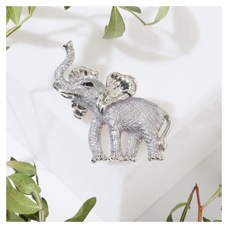 """Брошь """"Слон"""" крупный, цвет серебристый  Queen Fair"""