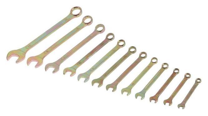 Набор ключей комбинированных в холдере Tundra, желтый цинк, 6 - 22 мм, 12 шт.  Tundra