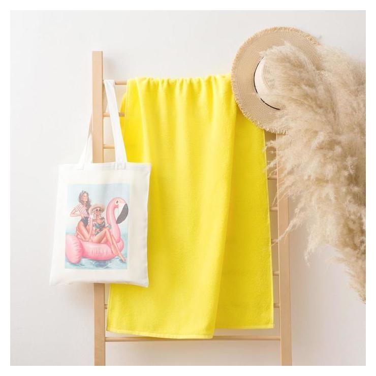 Полотенце в сумке этель Best Friends, 70*130 см, цв.желтый, 100% хлопок Этель