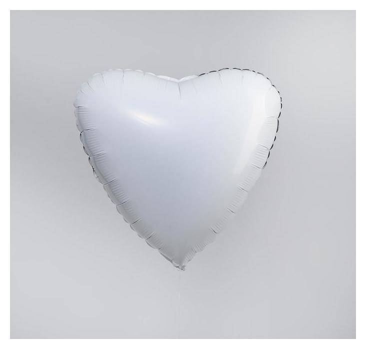 """Шар фольгированный 19"""" сердце, белый  Agura"""