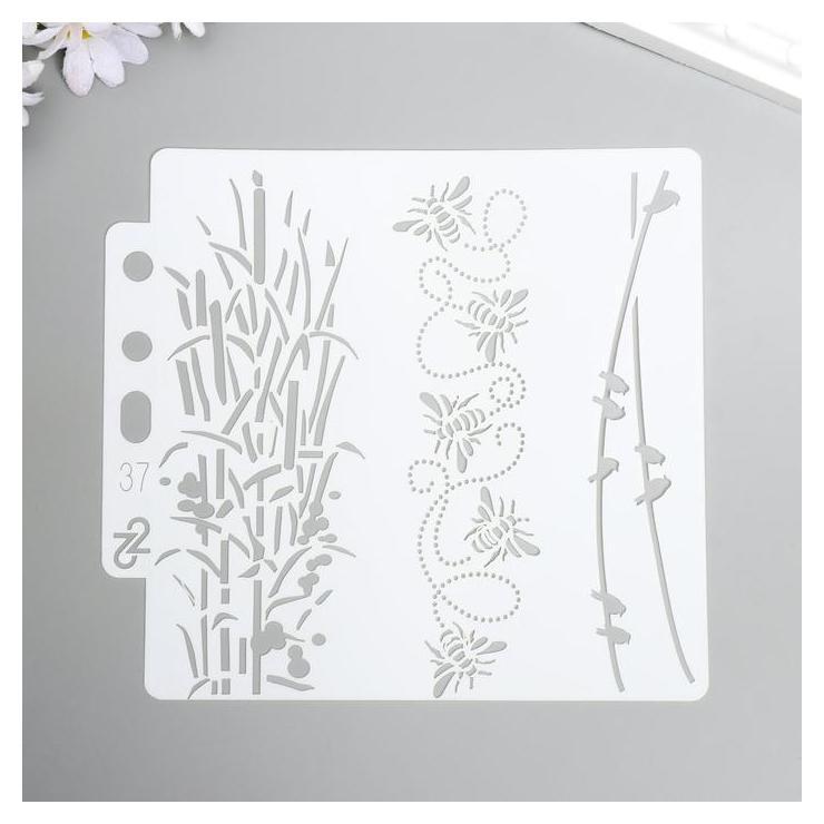 Трафарет пластик Бамбук, пчёлки и птицы на проводах 13х14 см NNB