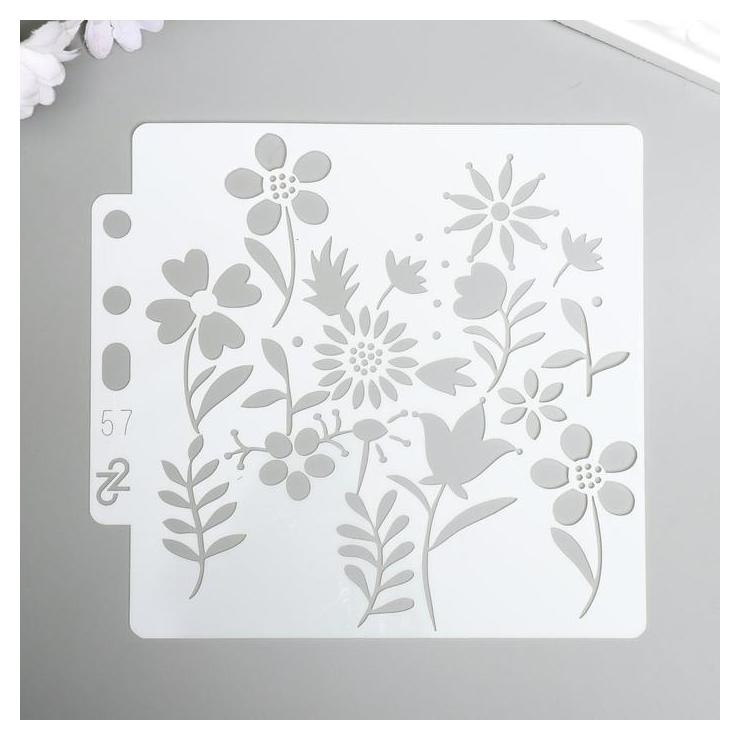 Трафарет пластик Полевые цветочки 13х14 см NNB