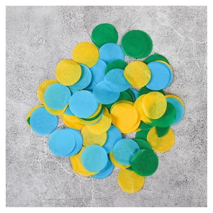 "Наполнитель для шара ""Конфетти круг"" 2,5 см, бумага, желтый/голубой, 100 гр.  NNB"
