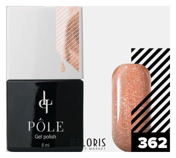 Купить Лак для ногтей POLE, Цветной гель-лак POLE , Россия, №362 - мерцающий персик