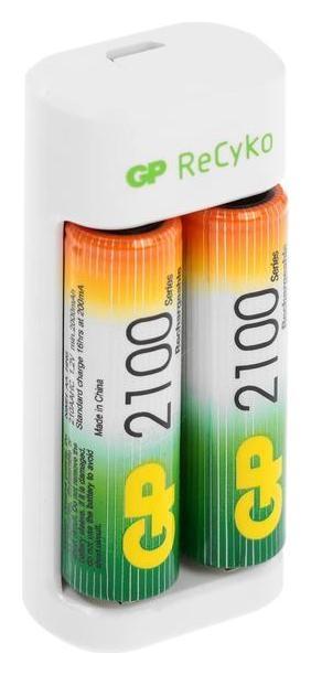 Зарядное устройство GP U411 + 4 аккумулятора Aa/aaa 2100/800 мач, белое  GР