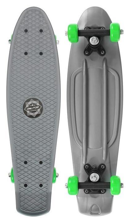 Скейтборд 56 х 15 см, колеса PVC 50 мм, пластиковая рама, цвет серый Onlitop