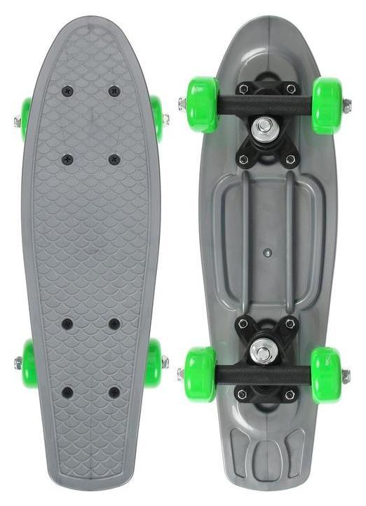 Скейтборд 42 х 12 см, колеса PVC 50 мм, пластиковая рама, цвет серый Onlitop