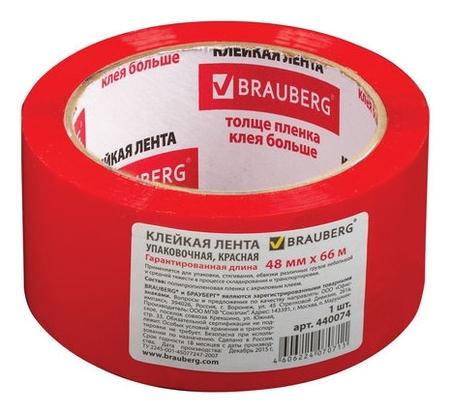 """Клейкая лента упаковочная """"Brauberg"""", 48 мм х 66 метров, цвет красный, 45 мкм  Brauberg"""
