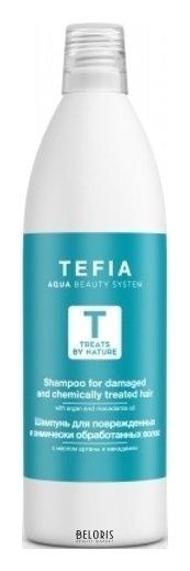 Купить Шампунь для волос Tefia, Шампунь для поврежденных и химически обработанных волос с маслом арганы, Италия
