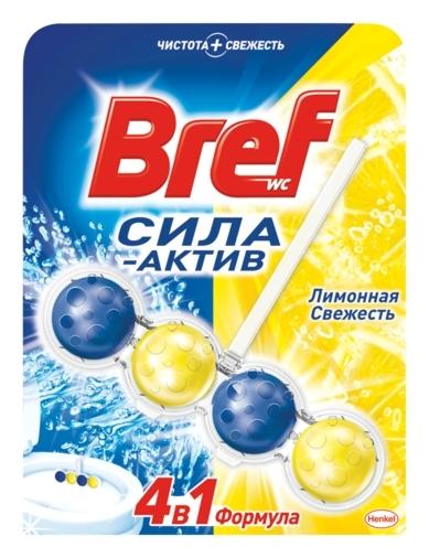 """Освежитель для туалета Bref """"Сила-актив. лимонная свежесть"""", твердый, 50 грамм  Bref"""