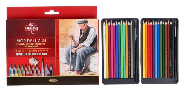 Карандаши акварельные набор 24 цвета, Koh-i-noor Mondeluz 3711 + точилка + кисть 1 штука, картонная упаковка, европодвес  Koh-i-noor