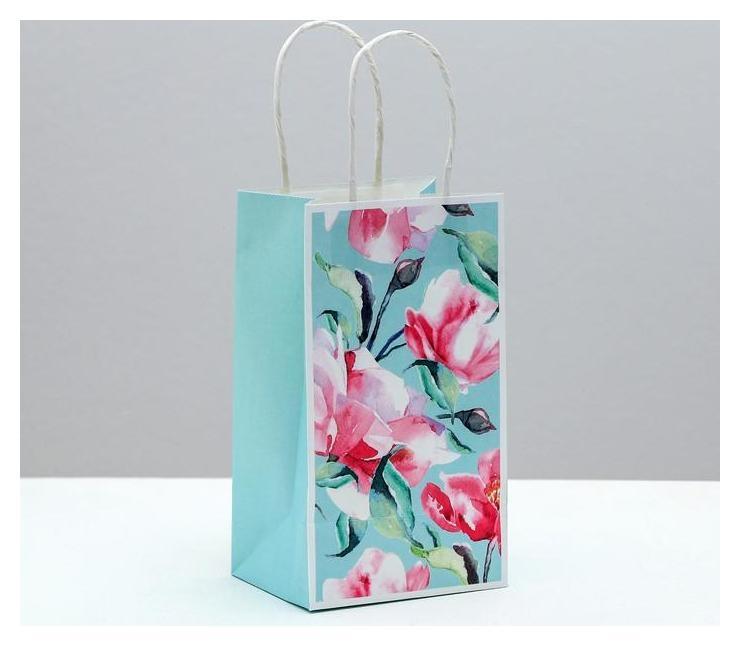 Пакет подарочный крафтовый Happy&love, 12 × 21 × 9 см  Дарите счастье