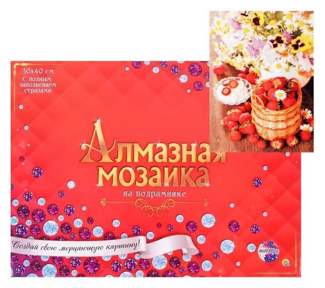 Алмазная мозаика 30 × 40 см, полное заполнение, с подрамником «Цветы и ягоды» Рыжий кот