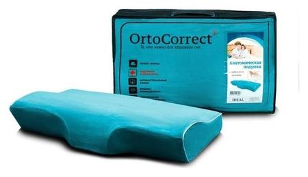 Анатомическая подушка Ortocorrect Ideal с центральной п-образной выемкой 58х32,высота вали  OrtoCorrect