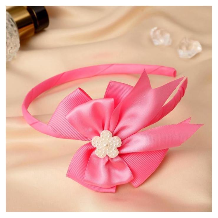"""Ободок для волос """"Линда"""" 0,5 см, двойной бант цветочек, розовый  NNB"""