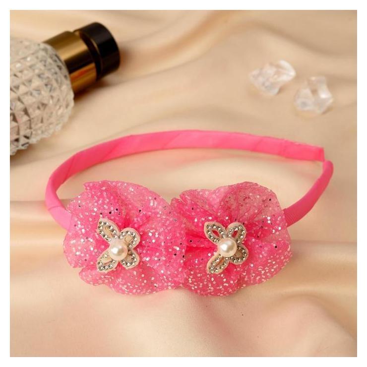"""Ободок для волос """"Алёнка"""" 0,5 см, сверкающие бабочки, розовый  NNB"""