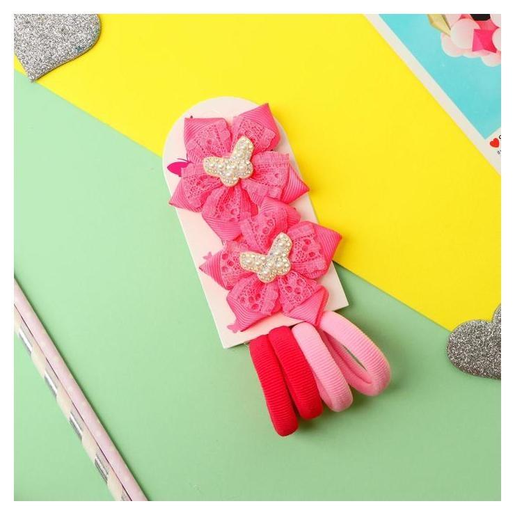 """Набор для волос """"Мишель"""" (4 резинки, 2 зажима) бабочки кружево, розовый  NNB"""