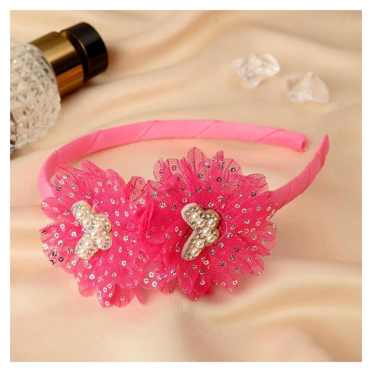 """Ободок для волос """"Алёнка"""" 0,5 см, бабочки, розовый  NNB"""