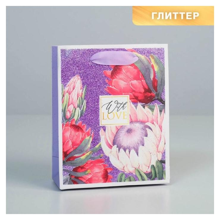 Пакет ламинированный вертикальный With Love, S 12 × 15 × 6 см  Дарите счастье