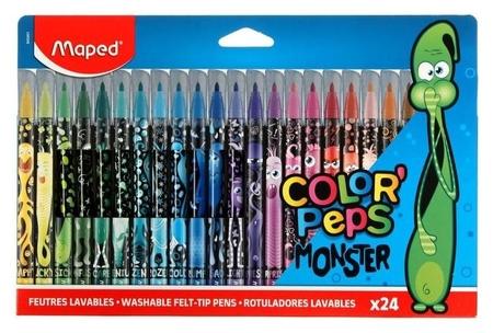Фломастеры 24цв Maped Color'peps Monster смываемые,с заблокир.пишущ.узлом,карт.футляр Maped