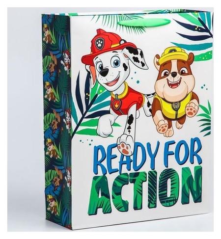 """Пакет ламинат вертикальный """"Ready For Action"""", 31х40х11 см, щенячий патруль  Paw patrol"""