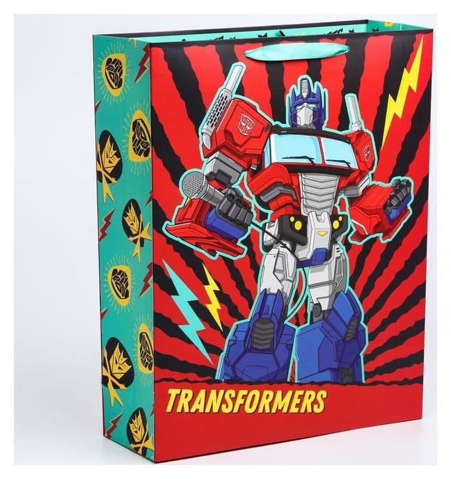 """Пакет ламинат вертикальный """"С днем рождения!"""", 31х40х11 см, Transformers  Hasbro"""