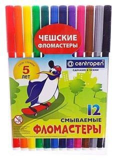 Фломастеры 12 цветов, Centropen 7790/12 пингвины, пластиковый конверт  Centropen