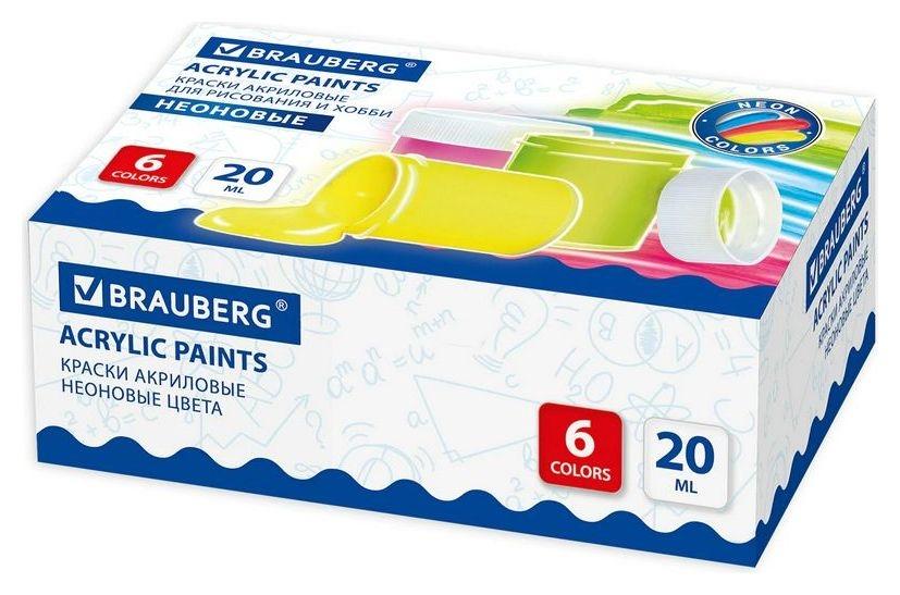 Краски акриловые для рисования и хобби Brauberg. неоновые, 6 цветов по 20 мл Brauberg