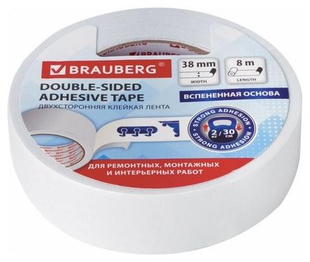 "Клейкая двухсторонняя лента ""Brauberg"", 38 мм х 8 м, на вспененной основе, 1 мм, прочная  Brauberg"
