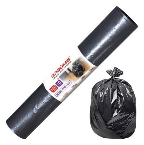 """Мешки для мусора """"Лайма"""", 160 литров, 10 штук, особо прочные, 90 х110 см (+5%), 100 мкм, черные  Лайма"""