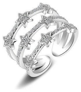 "Безразмерное кольцо ""Звезды""  Crystal Shik"