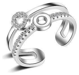 Кольцо безразмерное с серебряным покрытием  Crystal Shik