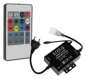 Контроллер Ecola, для RGB ленты 16х8 мм, 220 В, 1000 Вт, 4.5 А, Ip68, инфракрасный пульт  Ecola