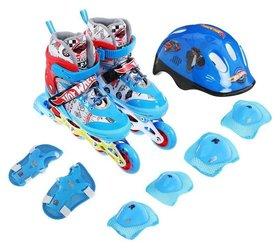 Роликовые коньки Hot Wheels, PU колёса со светом, в комплекте с защитой и шлемом, размер XS (26-29)